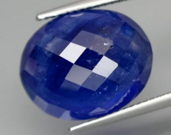 Large, Rich Blue Faceted Sapphire Cabochon, High Dome Oval 16 x 13 MM, 17.56 Carat, Thailand