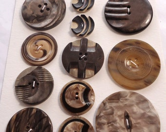 Vintage Art Deco buttons - brown and cream moulded and laminated selection  (Ref M45)