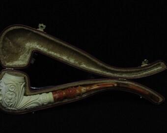 Floral Deer figurative Bent Churchwarden Meerschaum Pipe Kudret Hand made 7501