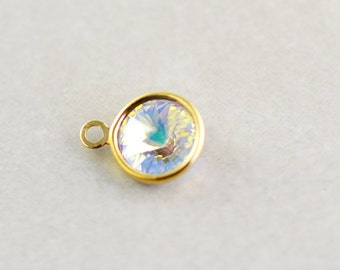 Gold Crystal Charm, Gold Crystal Disc, Wedding Charm, One