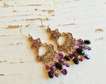 Purple chandelier earrings, Bohemian Gypsy Silver chandelier earrings with purple crystal and black teardrops
