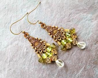 gold chandelier earrings, Bohemian gypsy hippie long artisan gold chandelier earrings with citrine, peridot and olive crystal