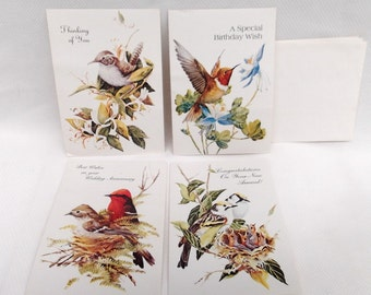 Vintage Bird Greeting cards with envelopes Humming bird 4 cards