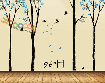 """Wall Decal, wall Stickers ,Tree Wall Decals ,Wall decals, Nursery wall decal,Children wall decals, Removable, Trees and Birds 4 trees 96""""H"""