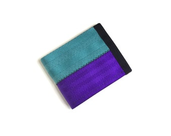 Velcro wallet - aqua and purple seat belt webbing - vegan wallet