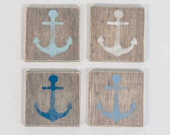 Wooden Nautical Coasters, Multi-colored Anchors