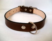 """Leather dog collar, M, 3/4"""" wide, with rear D ring,  full grain leather"""