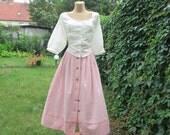 Cotton Skirt / Skirt Vintage / Full Skirt / Buttoned Skirt / Checkered  / Pink / White / Size EUR40 / UK12 / Tartan / Plaid / Side Slits