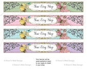 Shabby French Girl Vintage Banner - You pick color - Customized with Your Shop Name