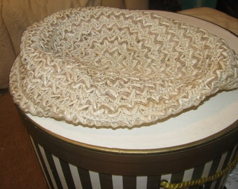 1940s ivory cellulose straw woven beret hat - mint condition