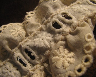 2  yards of 2  inch wide Beige cotton insertion embroidered trim  lace  from 1960s . perfect