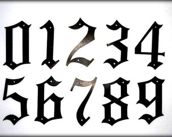 "METAL HOUSE NUMBERS - 5"" Old English Style Numbers - Street Numbers - Outside Home Decor - Old English Font Adress Numbers"