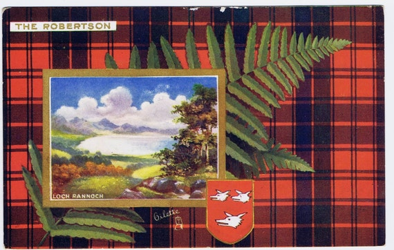 Antique Vintage The Robertson Scottish Clan Postcard History Scotland Tartan Plaid Textile Costume Outlander