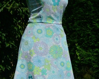 60s turquoise psychedelic flower power applique A-line dress size S/M