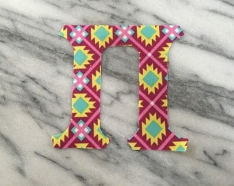 1 Set Iron on Greek Letters - pink and teal tribal