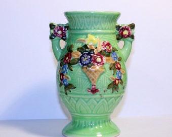 Green Flower Double Handled Made in Japan Vase, Green Home Decor Vase, Green Flower Vase