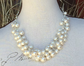 Chunky pearl necklace,  ivory cluster pearl necklace, wedding jewelry,  bridesmaid pearl necklace