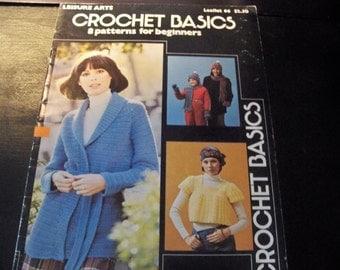 1976 Crochet Basics 8 Patterns for Beginners by Leisure Arts Leaflet 66 - Instruction - Application  - Pattern Design, Stole, Afghan, Smock
