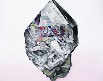 Herkimer Diamond Crystal Quartz Print of Oil Painting