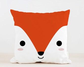 Animal Fox Pillow, Nursery Cushion, Kids Pillow Cushion, Woodland Cushion, Home decor, Children Room Decor, Nursery Decor, Playroom decor
