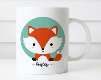Custom Name Mug, Fox Mug, Personalized Mug, Office Mug, Best Friend Gift, Birthday Gift, Cute Animal Mug Gift