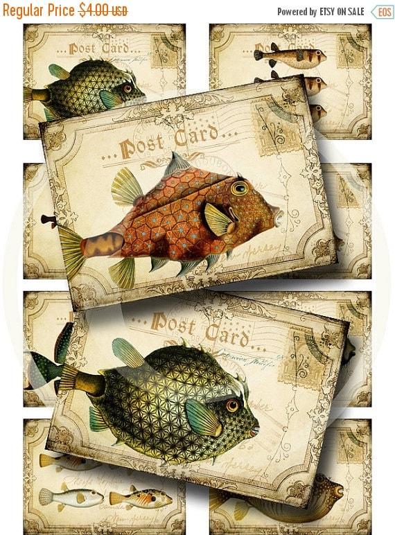 HALF PRICE Silly Fish Postcard ATC's - Digital Collage Sheet