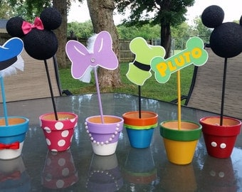 Mickey Mouse Clubhouse Inspired Clay Pot Centerpieces - 6 Characters