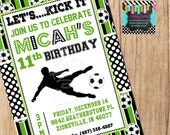 Green/Black SOCCER invitation - YOU Print