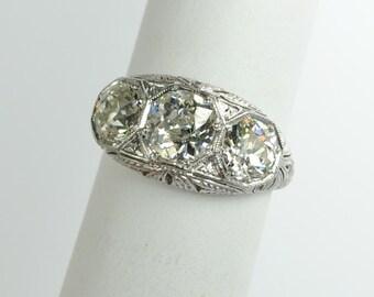 Art Deco Three Stone Diamond Ring in Platinum 2.81 ctw.