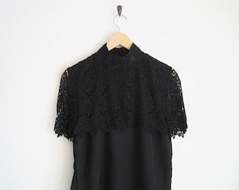 Black Blouse with Lace Cape. Romantic Blouse. Floral Lace Blouse. Vintage Women Shirt. 80s Shirt. Victorian Twee Blouse. Short Sleeve Goth