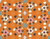Wildland Flowerbed in Orange, Miraim Bos, 100% GOTS-Certified Organic Cotton Poplin, Birch Fabrics, MI-08-ORANGE