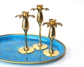 Hamilton Brass Pineapple Candle Holders - Set of Three