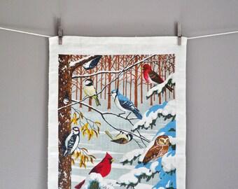 Mid-Century Kay Dee Winter Birds Linen Tea Towel