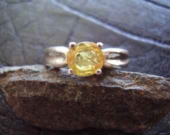 Belle - Genuine Golden Sapphire Solitaire Engagement Ring, Solid 925 Sterling Silver, September Birthstone, Oval Cut Sapphire, Gifts For Her