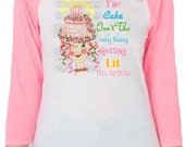 """Birthday Adult raglan  happy birthday tee shirt adult funny tee shirt """"The cake isn't the only thing getting lit this year"""""""