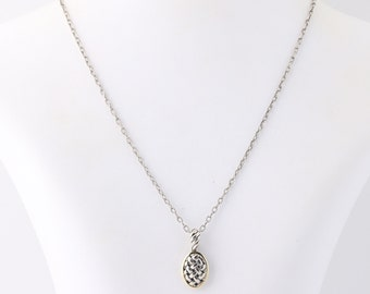 """Textured Oval Pendant Necklace 18"""" - Sterling Silver & 18k Yellow Gold Q4047"""