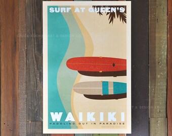 Waikiki - Surf at Queen's - 12x18 Retro Hawaii Travel Print