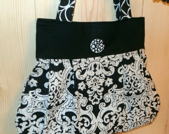 Black and White Tote Bag Purse, Pleated Cotton and Canvas Bag, Gorgeous Patterned Fabric with Coordinating Phone Case, Hand Sewn Purse Set