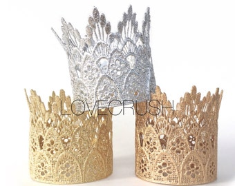 Ready to Ship ||Sienna Tall Mini || gold|| WASHABLE || lace crown|| headband option|| photography prop || Love Crush Exclusive