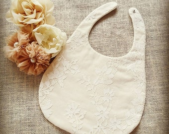 Sierra Boy or girl lace ivory christening baptism heirloom baby bib with clip button
