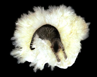 Cat Bed - Pet Bed - Cruelty Free Felted Wool Fleece - White Coopworth - Ready to Ship - Supporting US Small Farms