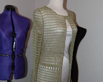 """Crochet Cardigan Green 70 Bamboo/30 Cashmere size Large (bust 36-38"""")"""