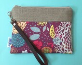 Purple Floral Leather Wristlet Vintage Lace - Made to Order