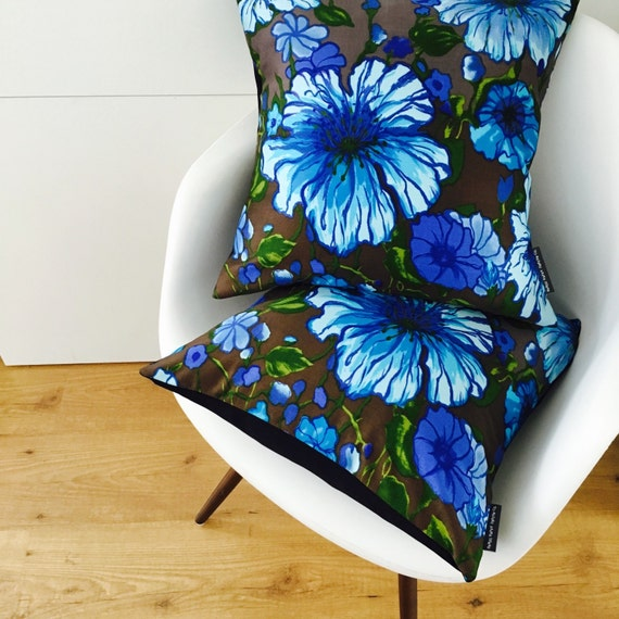 "Blue Green Brown Flower Pillow Cover 18""x18"" Square Floral Cushion Pillow Boho Style Cushion Cover Black"