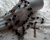 Black Rosary, Handwrapped Rosary, Rosary in Black, Purple Rosary,