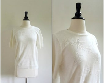 Summer Clearout Sale Vintage white star pattern short sleeved sweater