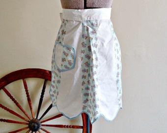 Apron Vintage Aprons Half Apron Blue & White Floral 1960's