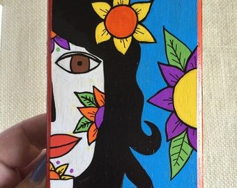 Girl with Yellow Flower - original art by Susie Carranza.  Mini wood canvas. Dia de los Muertos art.