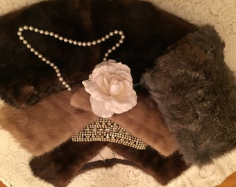 3 antique fur collars and pr fur cuffs! So pretty to upcycle vintage sweaters ! Really glam and pretty!