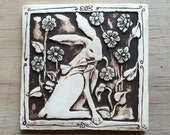 Rabbit with flowers 4x4 inch handmade porcelain tile for wall hanging